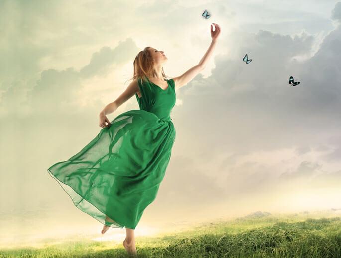 Grünes Kleid Schmetterlinge