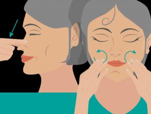 Massage Nase und Mund