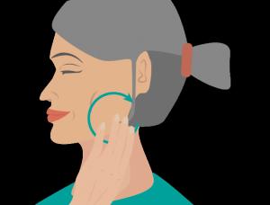 Massage von Ohren und Kiefer