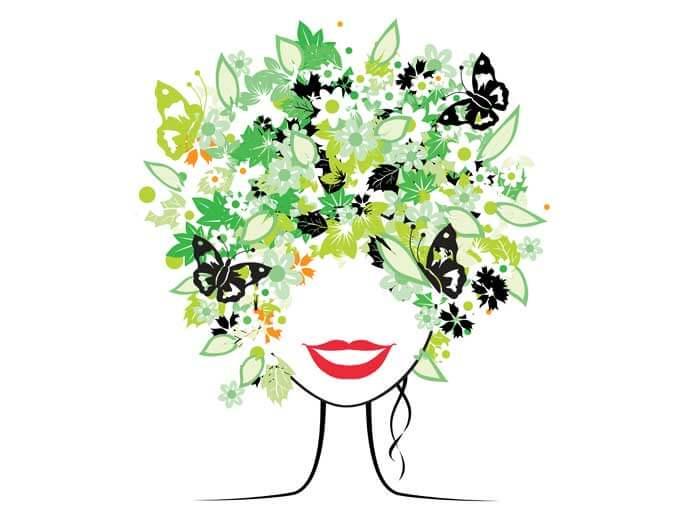 Kopf mit Blumen