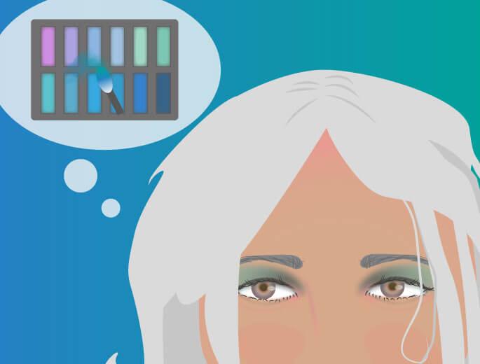 Lidschatten Frau mit Denkblase