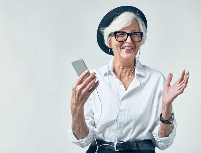 Dame mit iPod