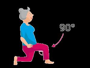 Entlastung der Knie Ausfallschritt im rechten Winkel