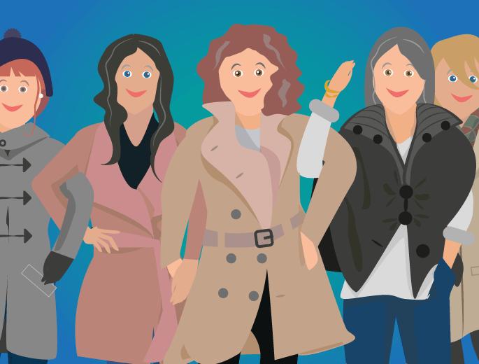 Frauen mit Herbstmänteln