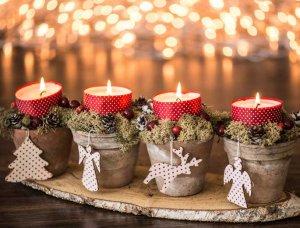 Adventskranz mit Blumentöpfen