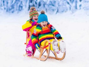 Schnee-Aktivitäten Schlitten fahren