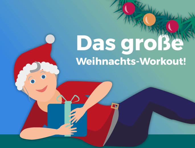 Weihnachts-Workout Frau mit Geschenk