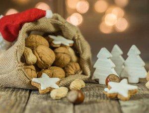 Weihnachtsdeko-Ideen Sack mit Nüssen