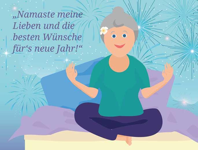 Neujahr Yoga Frau auf Bett im Lotussitz