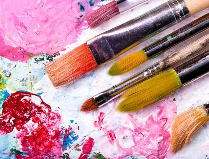Kunst Farbpinsel mit Ölfarben