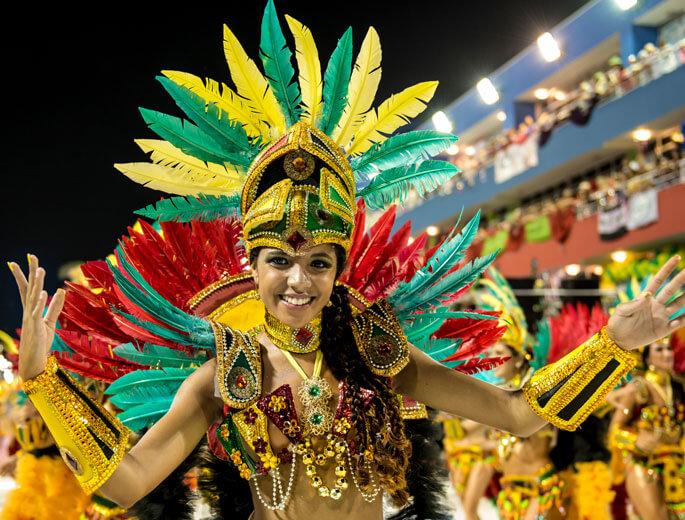 Samba Parade im Karneval in Rio de Janeiro.