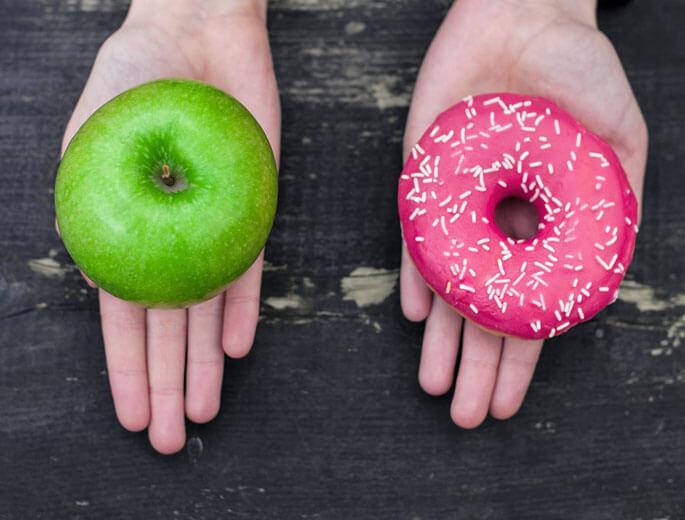 Säure-Basen-Ernährung Apfel Donut