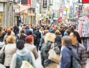 hektische Einkaufsstraße