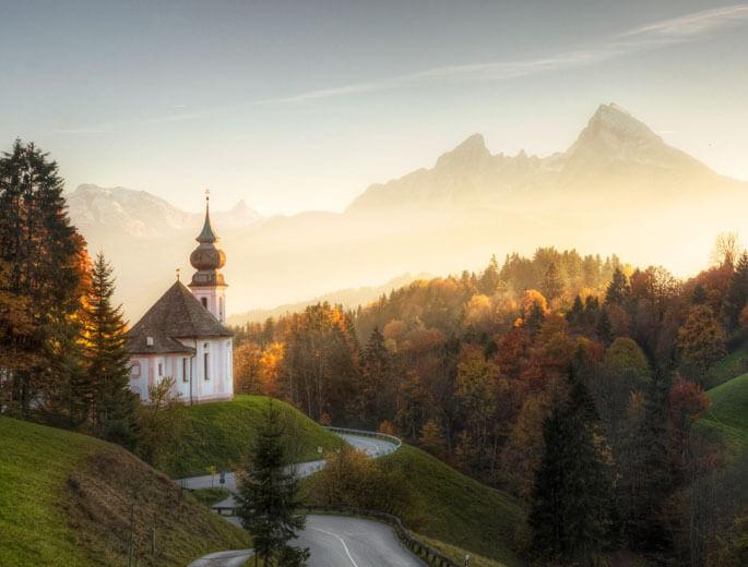 Sonnenuntergang im bayerischen Nationalpark Berchtesgaden
