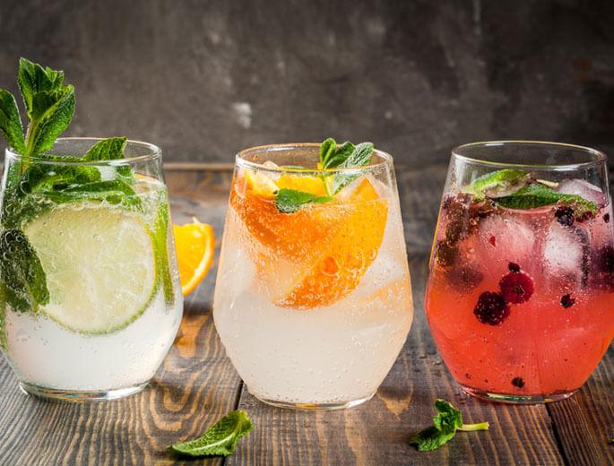 Drei Sorten Gin Tonic