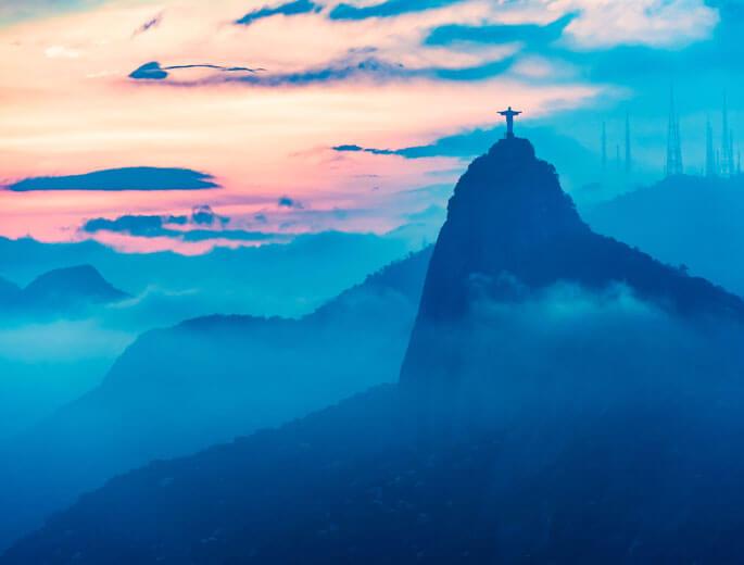 Die sieben Weltwunder Cristo Redentor Brasilien Sonnenuntergang