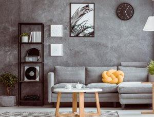 Schwarz graues Wohnzimmer