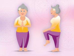 Yogaübungen im Stehen Knie anziehen