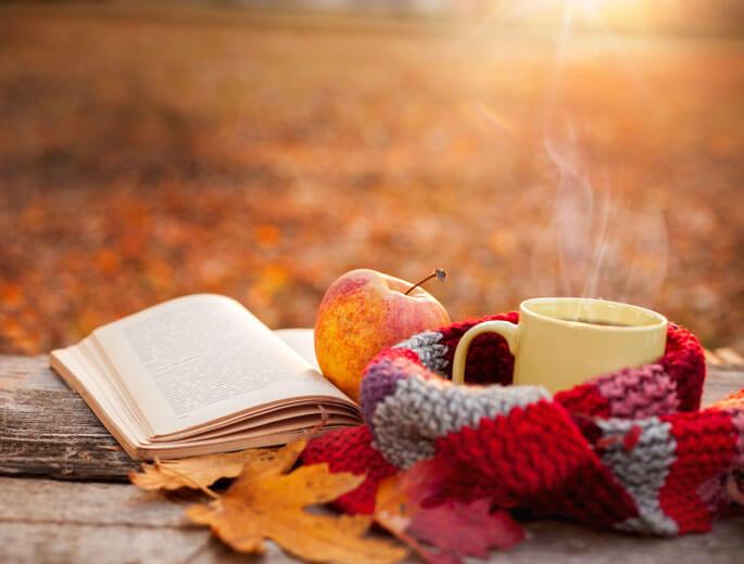 Ein Buch mit Apfel