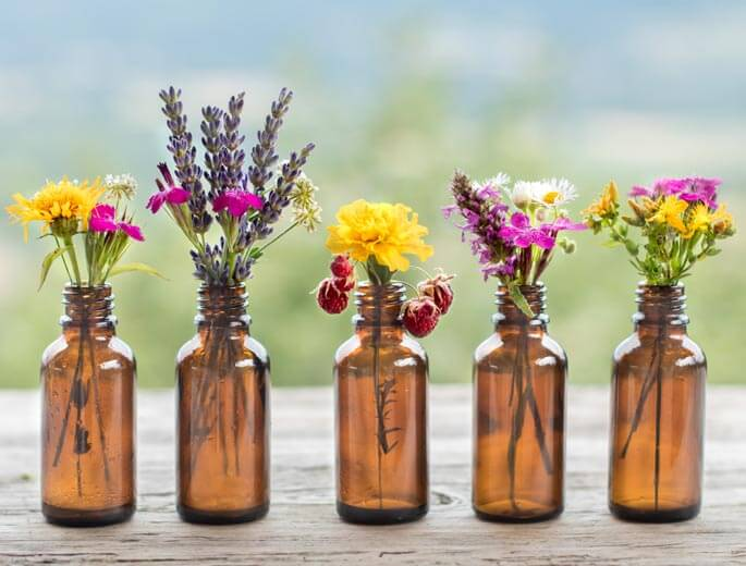Blumen in Fläschen