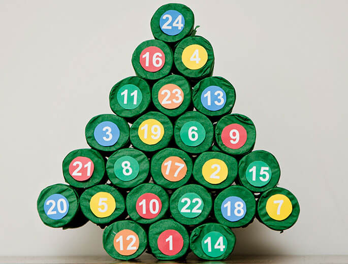 Adventskalender aus Recycling-Material